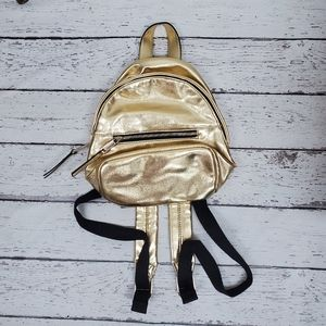 French Connection Metallic  Gold Mini backpack bag